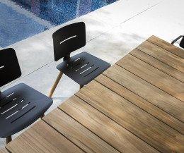 Exklusiver Oasiq Coco Design Stuhl Teak mit vier Beinen in Dunkelgrau Anthrazit