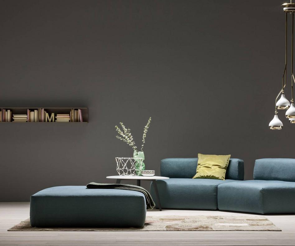Moderner Novamobili Designer Couchtisch UP mit nierenförmiger Tischplatte in Weiß Wohnzimmer