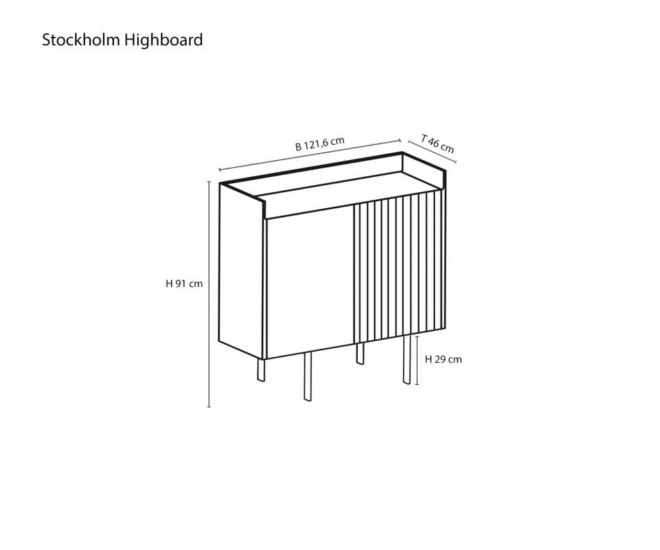 Hochwertiges Punt Design Highboard Stockholm Eiche Dunkelgrau gebeizt