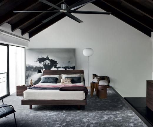 Designer Bett Dedalo von Novamobili in Ulme dunkel