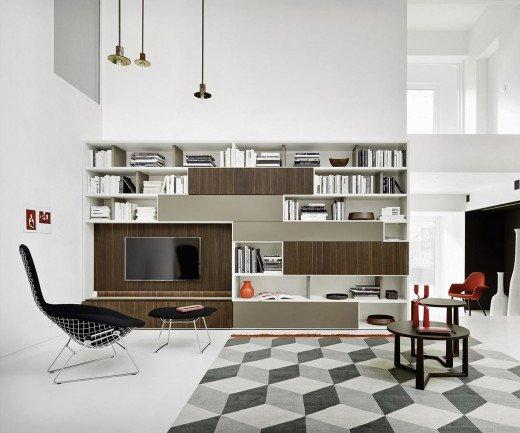 Exklusives Livitalia Design Bücherregal C52 in Weiß Matt