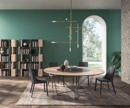Runder Design Esstisch mit drehbarer innerer Tischplatte Eiche Natur Furnier