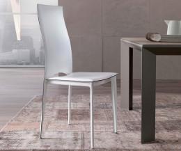 Ozzio Stuhl Vivalta Weißer Lederstuhl