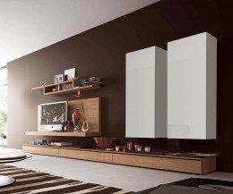 Hochwertiger Wohnzimmer Design Hängeschrank Weiß Hochglanz