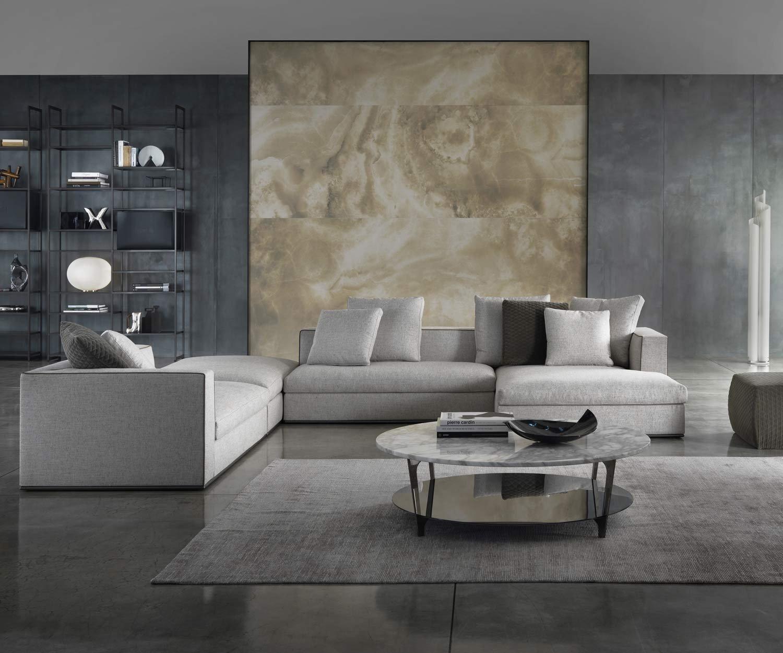 Marelli tab runder couchtisch mit marmor tischplatte for Tischplatte marmor rund