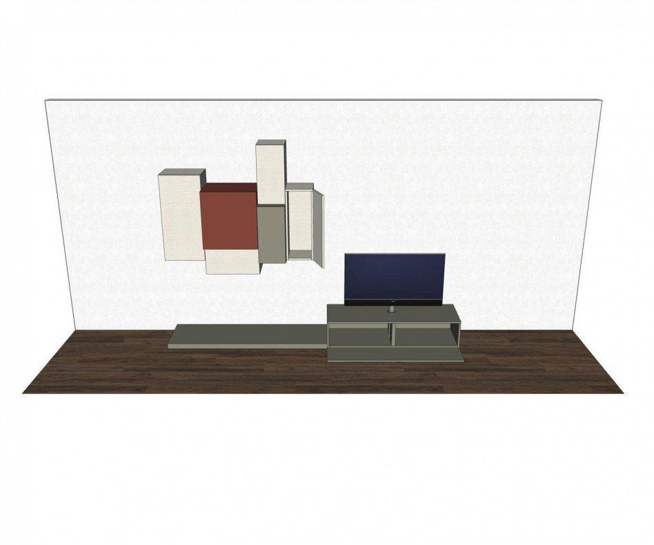 Exklusive Livitalia Design Wohnwand C49 mit TV Säulen Halterung
