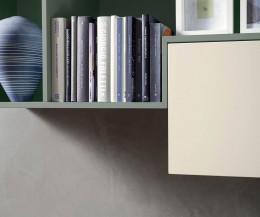 Modernes Livitalia Design Wandregal offen im Detail 45 Grad Schnitt auf Gärung