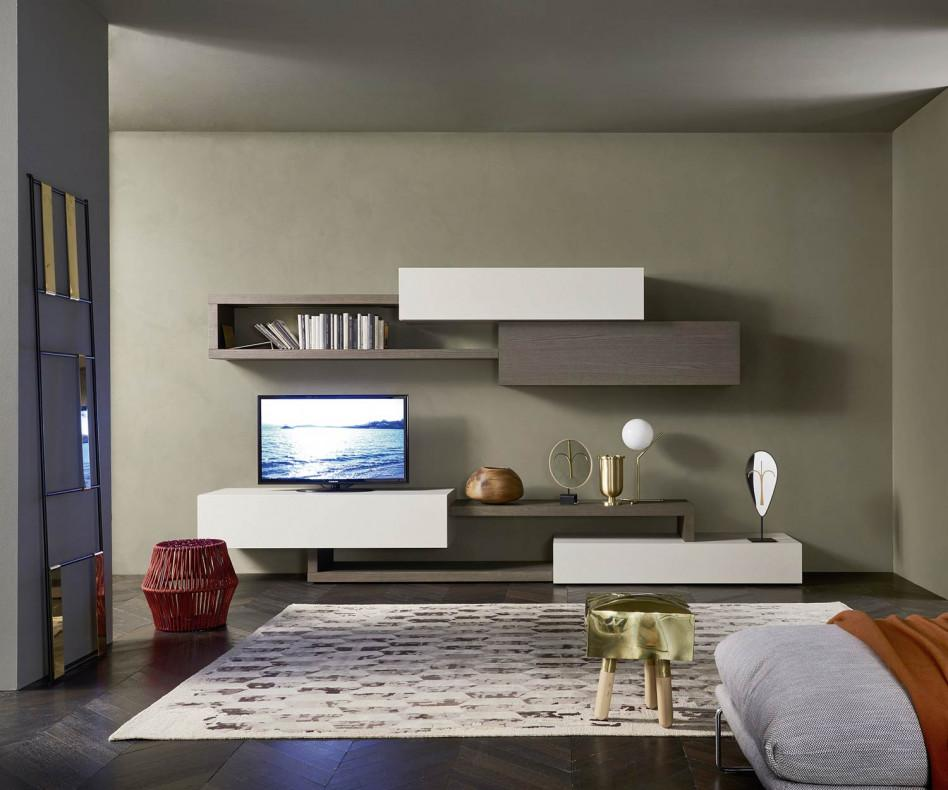 Moderne wohnwand  Livitalia Moderne Wohnwand C28 Weiß Holzoptik