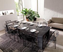 Hochwertige Ozzio Design Konsole im Wohnzimmer als ausgezogener Esstisch