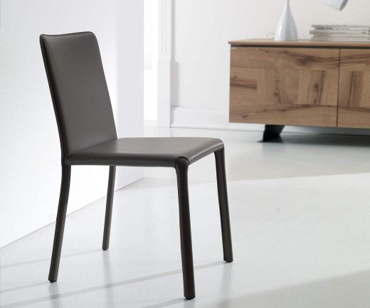 Exklusiver Ozzio Design Stuhl Lunette Leder Schwarz