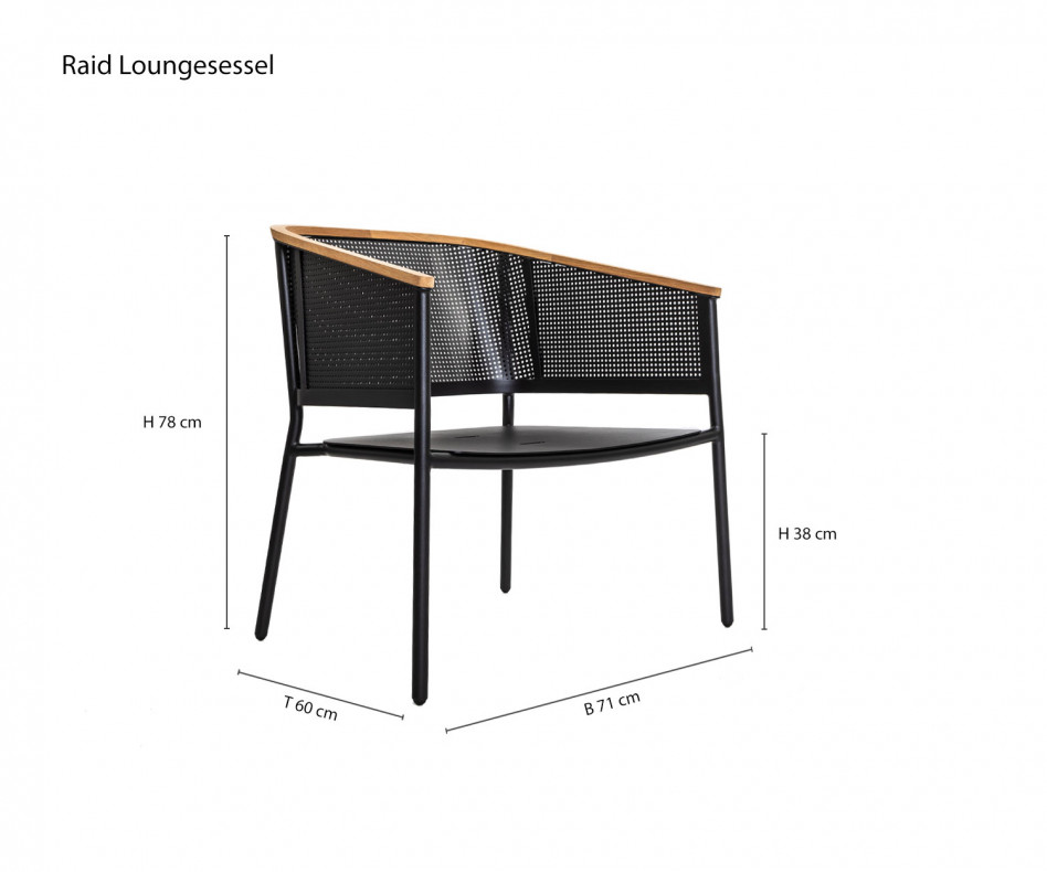 Wetterfester Oasiq Riad Design Loungesessel Anthrazit Gestell