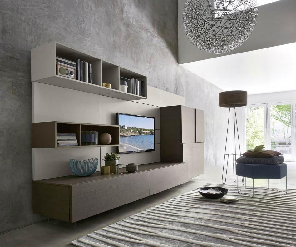 Livitalia wohnwand c34 mit tv paneel und highboard for Wohnwand mit tv