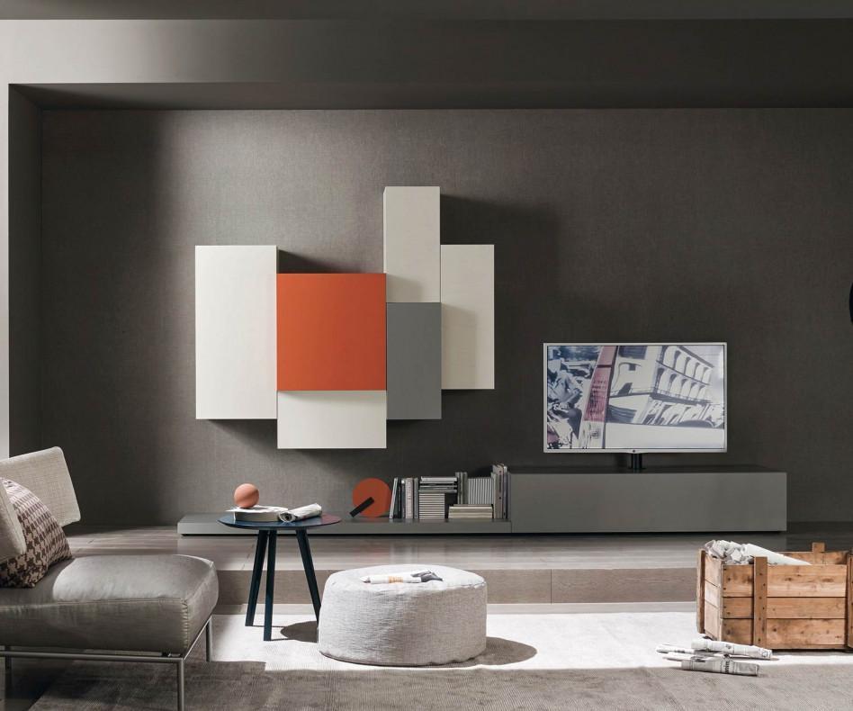 Designer wohnwand c49 lowboard mit tv s ulen halterung for Design wohnwand
