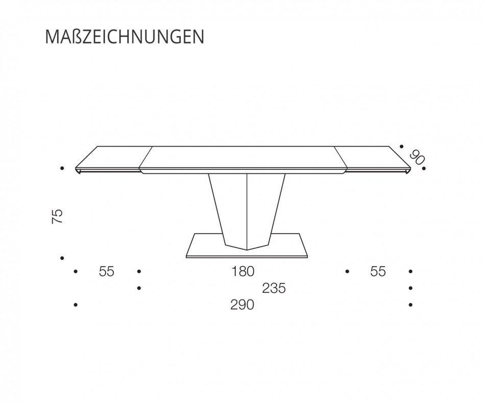 Ozzio Glastisch ausziehbar Diamante T250 G