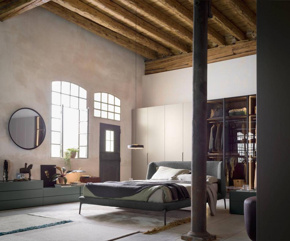 Hochwertiges Designer Bett Novamobili Velvet im Schlafzimmer grauer Stoffbezug