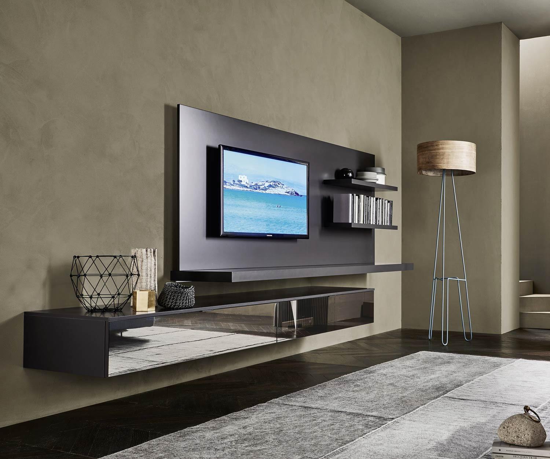 Wohnwand design  Livitalia Wohnwand C54 TV Paneel und LED Beleuchtung