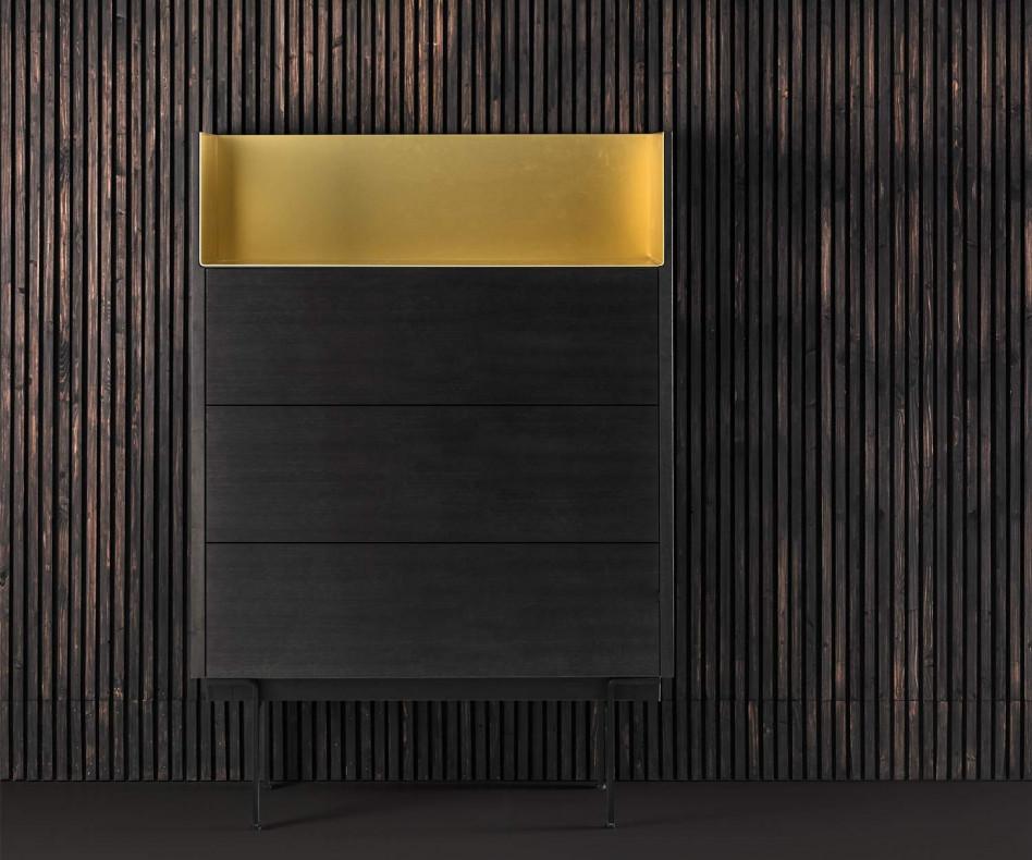 Hochwertige Design Hochkommode Super Matt Eiche Aluminium Abdeckplatte