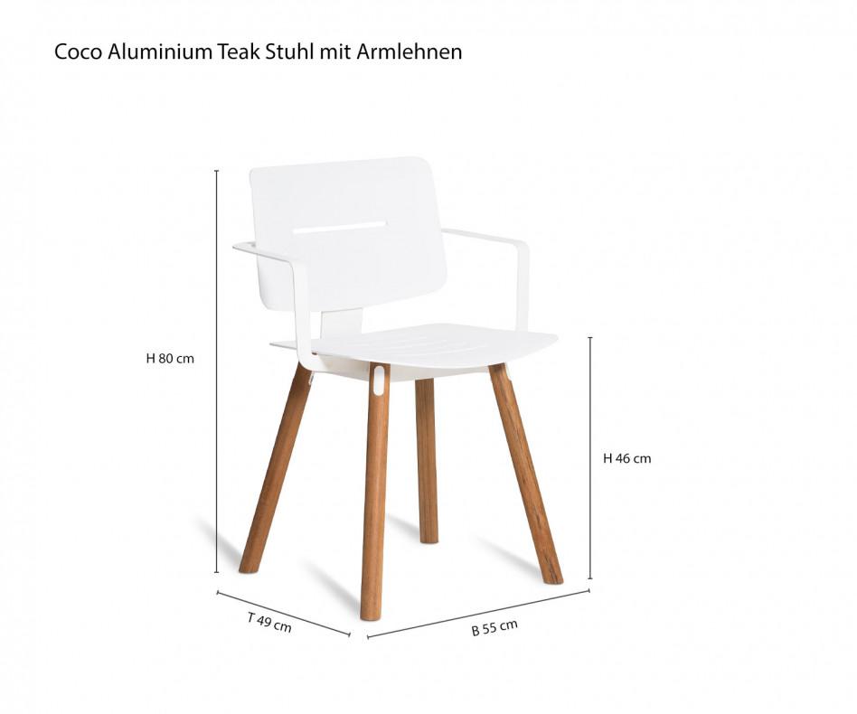 Exklusiver Oasiq Coco Aluminium Teak Design Stuhl mit Aluminiumsitzfläche