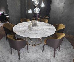 Design Edel Esstisch Marelli Tatlin Marmor weiß als Gruppe mit Stühlen
