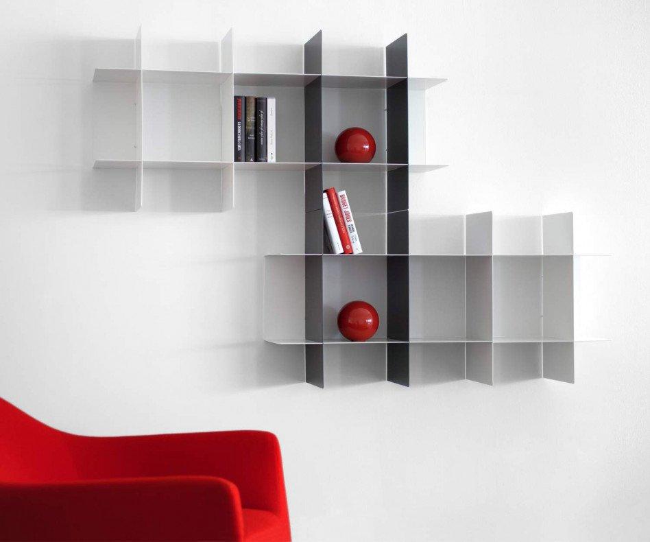 Hochwertiges Modul System MEME Design Bücherregal für die Wand aus Metall