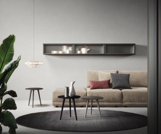 Dreibeiniger Beistelltisch Trio von Novamobili in Schwarz Matt lackiert Wohnzimmer