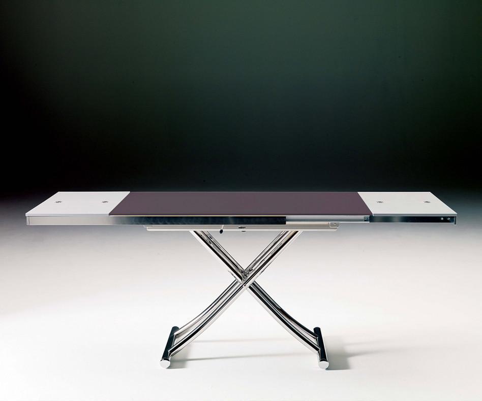 Ozzio Planet Tisch T115 mit sattinierter Glasplatte CR 04