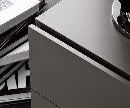 Exklusiver Novamobili Easy 2 Schubladen Design Nachttisch in Dunkelgrau