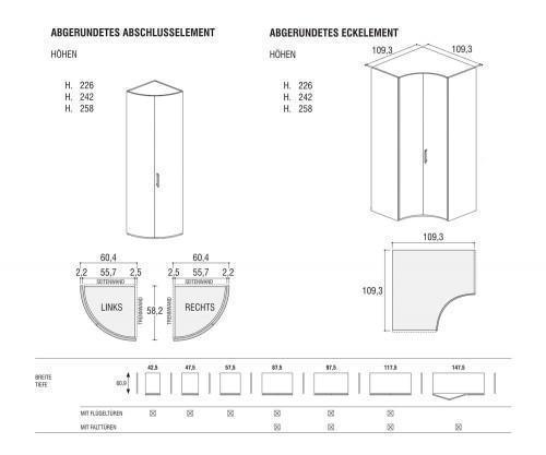 Rundes Eckelement und Abschlusselement Maße