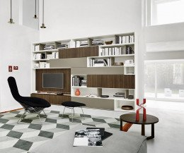Modernes Livitalia Design Bücherregal Wohnwand Wohnzimmer