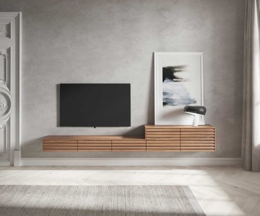 Punt Sussex Design Konfigurator hängendes Lowboard an der Wand mit TV
