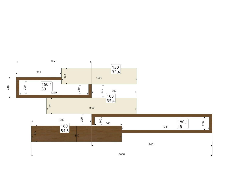 Schwebende Design Wohnwand C25 mit TV Board