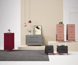 Novamobili Design Kommode Float in Grau mit weiterer Float Kollektion
