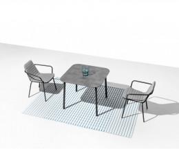 Quadratischer Design Gartentisch Starling in Dunkelgrau mit abgerundeten Ecken