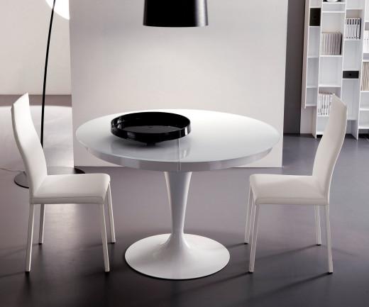 Exklusiver Ozzio Tisch rund Eclipse Weiß Glas