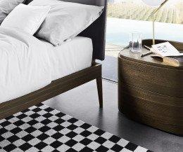 Moderner Livitalia Design Holz Nachtschrank der Round Serie mit Schubladen