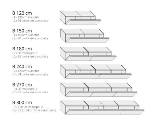 Lowboard Breiten 120 150 180 240 270 300 cm