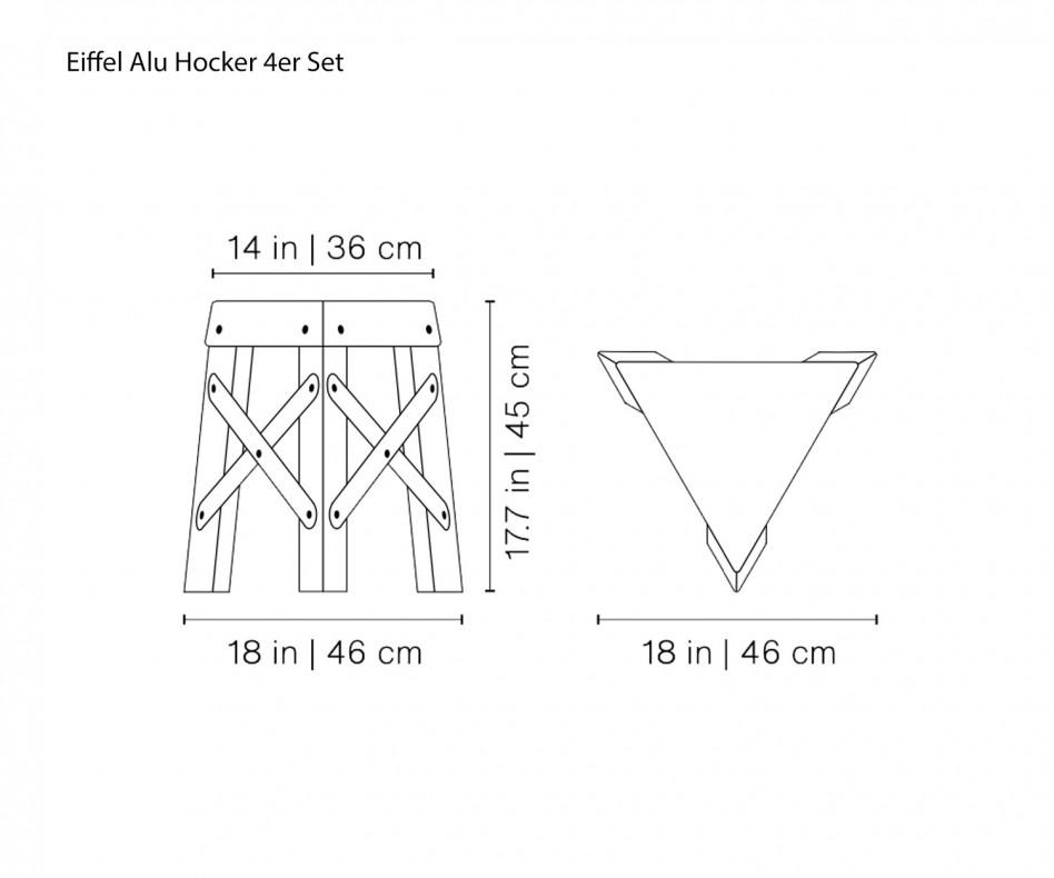 Exklusiver RS Barcelona Eiffel Design Alu Hocker Gelb