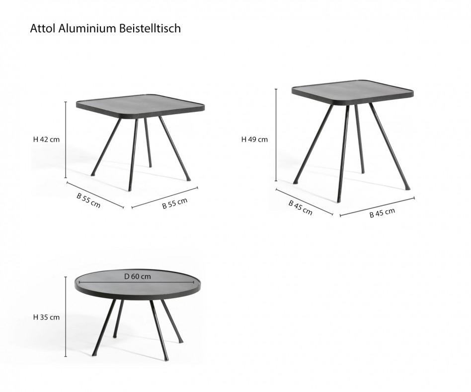 Moderner Oasiq Attol Aluminium Beistelltisch