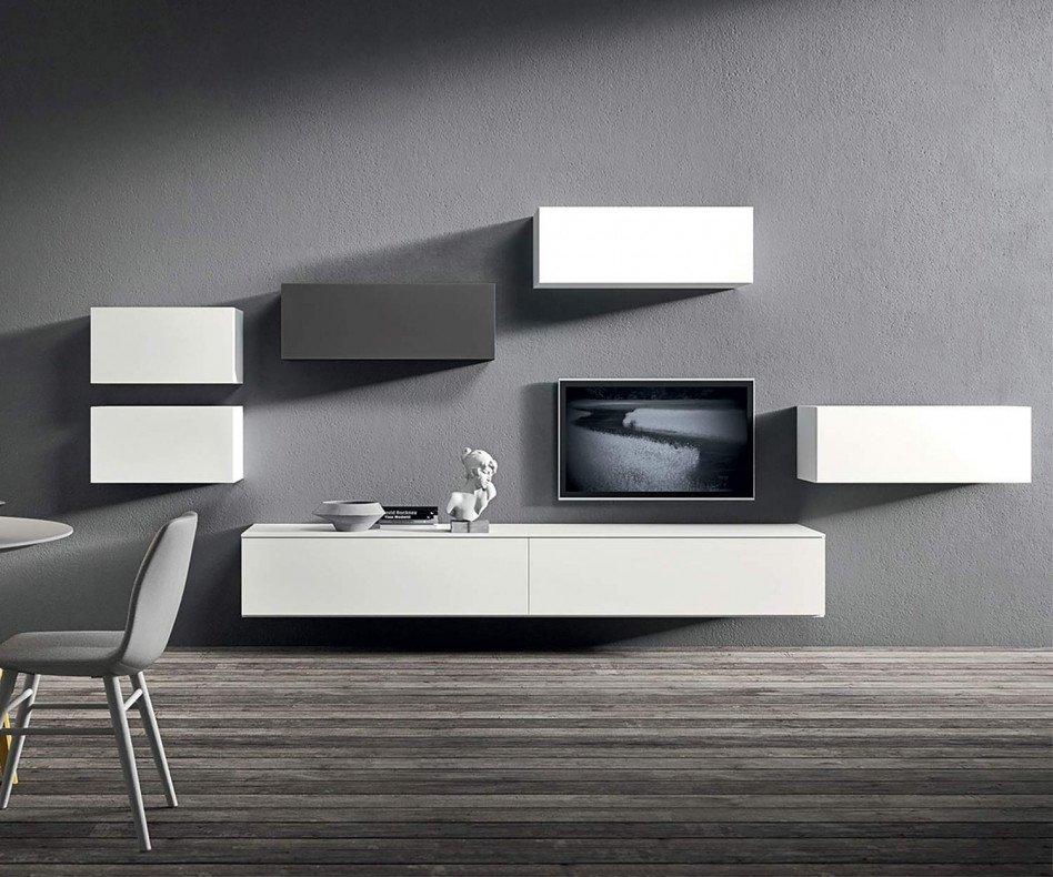 Design Wohnzimmer Hängeschränke Hochglanz