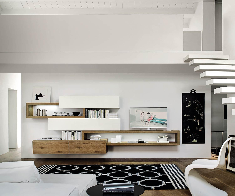 schwebende design wohnwand c25 mit tv board. Black Bedroom Furniture Sets. Home Design Ideas