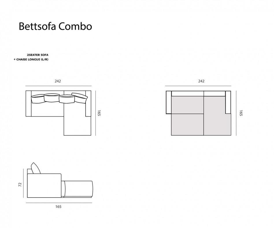 Modernes Prostoria Designer Bettsofa Combo im Wohnzimmer in Grau