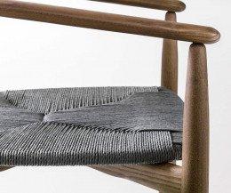 Novamobili Stuhl Rose Nussbaum Sitz aus Strohgeflecht Graphit