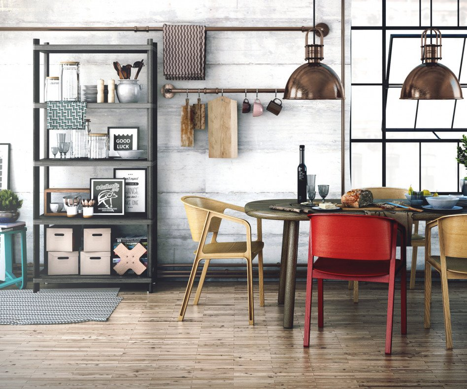 EAJY Beams Design Chair Holzstuhl Rot