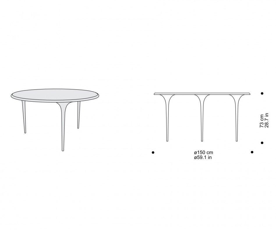 Exklusiver sphaus 009.01 150 organic Design Tisch rund organisch in Schwarz