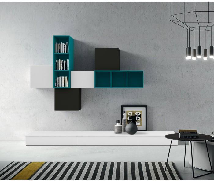 TV Wohnwand in Weiß mit Highlightfarbe Petrol