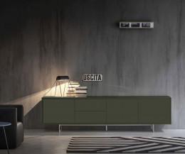 Schwarzes Design Sideboard Novamobili Schatten 4 auf Kufenfüßen