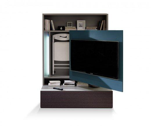 Ausziehbare Tv Wand Smartliving Von Ozzio Aus Italien. Erhältlich In 6  Farbvarianten Mit Integriertem Esstisch Und 6 Hochwertigen Klappstühlen.