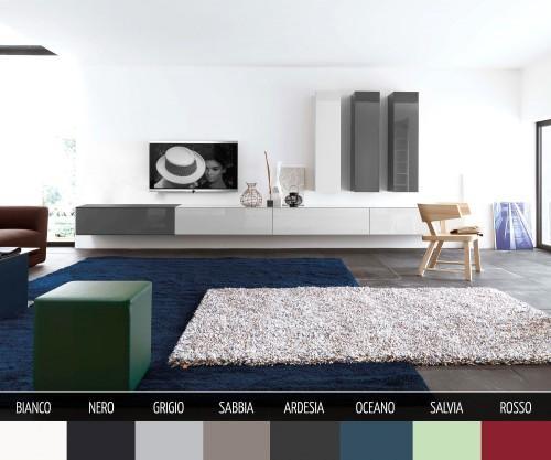 Box Lowboard Hochglanz Wandmontage in 8 Farben