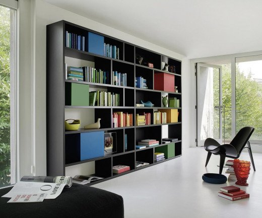 Exklusives Livitalia Design Bücherregal C85 in Schwarz