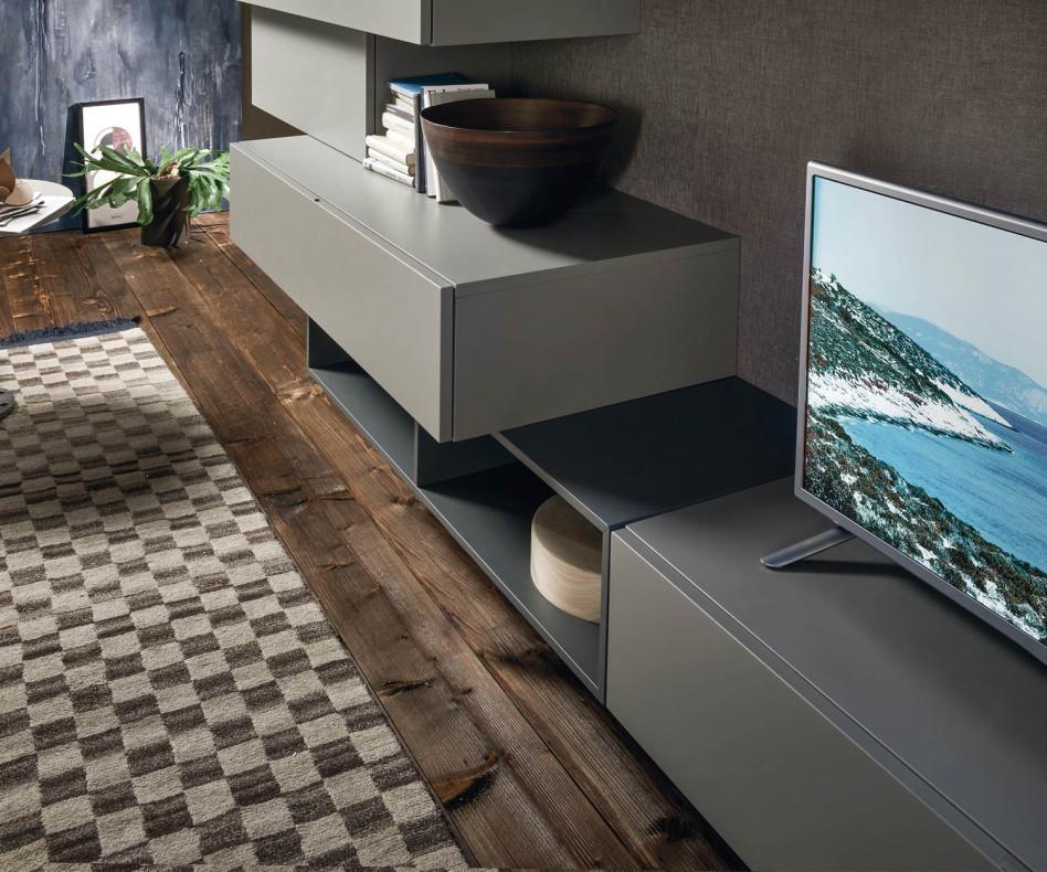 Schwebende Design Wohnwand mit Hängeschränke